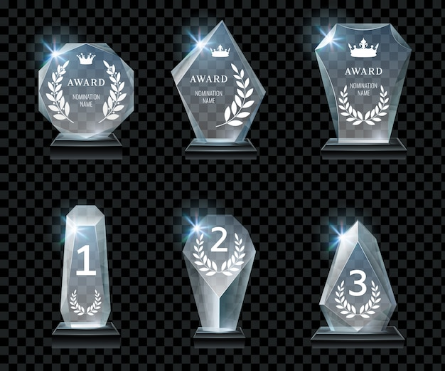 First place award, crystal prize and signed acrylic trophies realistic vector set