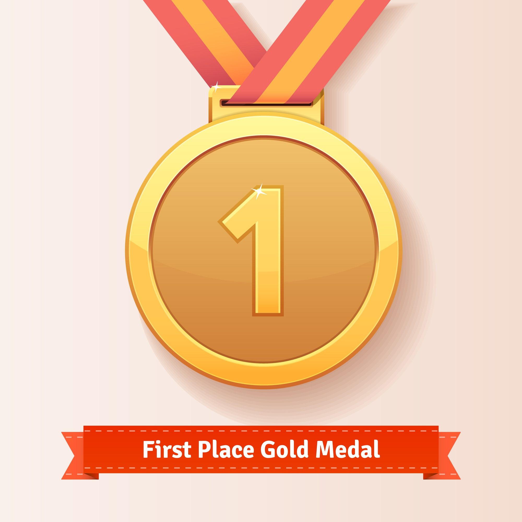 First place award gold medal with red ribbon