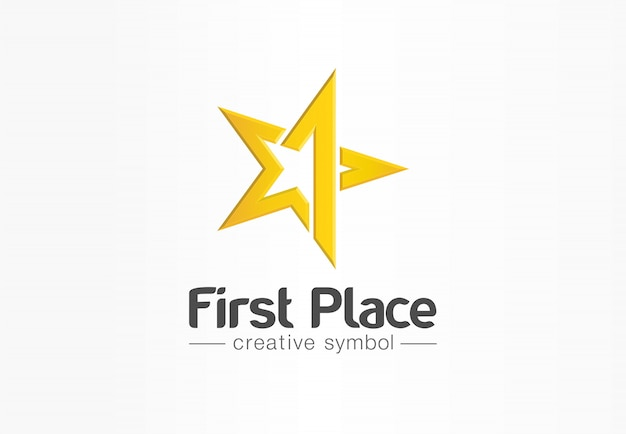 First place, contest winner, number one creative symbol concept. award, prize, victory abstract business logo idea. gold star trophy icon.