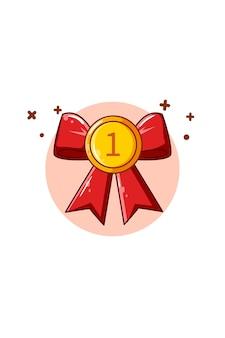 Первое место золотая медаль значок иллюстрации шаржа