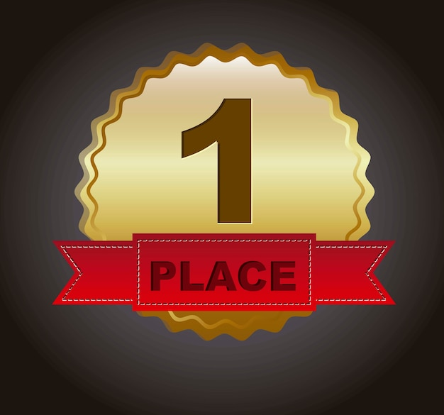 First place ribbon over black background vector illustration