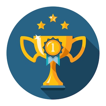 The first place trophy. gold winner cup flat icon. vector illustration