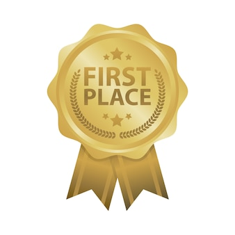 First place win gold badges vector illustration