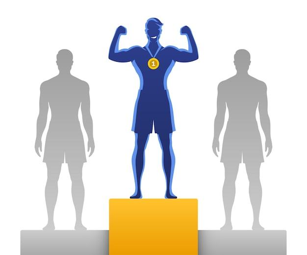 Человек, занявший первое место, стоит с конкурентами