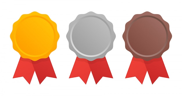 First, second and third place. award medals set isolated on white with ribbons.