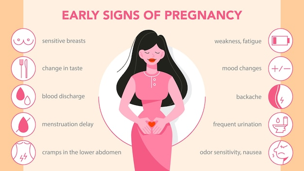 First symptoms of pregnancy infographic. weakness and backache, appetite change and vomiting. early signs of pregnant woman with mood changes.    illustration