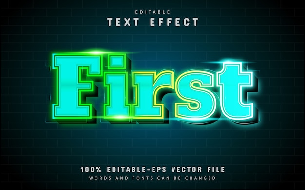 First text effect with blue gradient