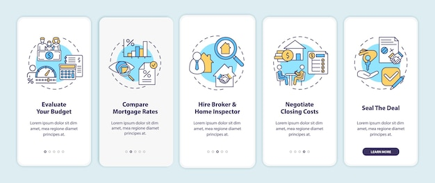 First-time homebuyer tips onboarding mobile app page screen with concepts.