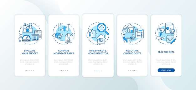 First-time homebuyer tips onboarding mobile app page screen with concepts