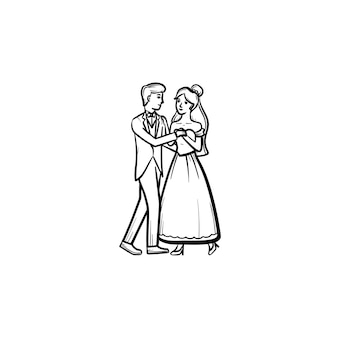 First wedding dance hand drawn outline doodle icon
