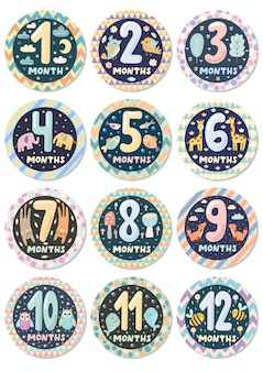 First year baby age stickers set with cute animals badge