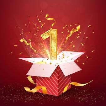 첫해 기념일 및 폭발 색종이가있는 열린 선물 상자