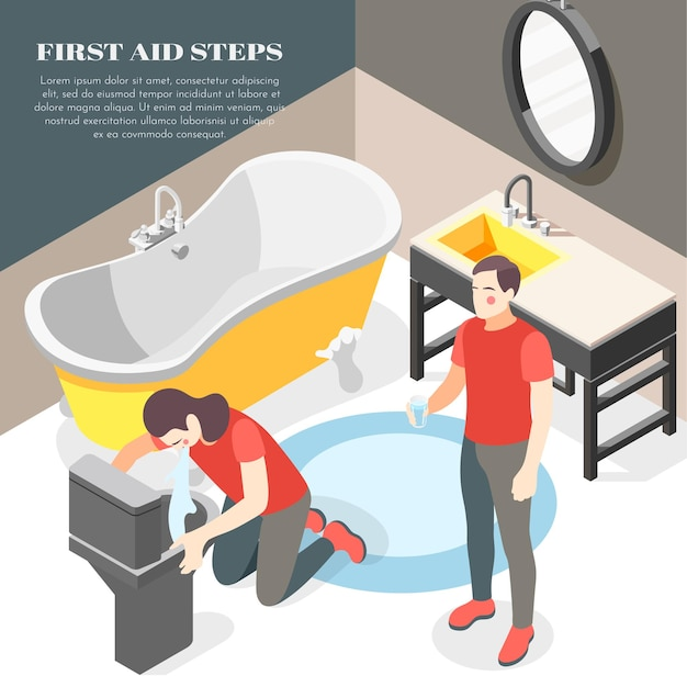 Firsts aid steps for food poisoning isometric illsutration