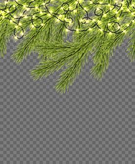 レリスティックなfirtree、きらめく光、透明な花輪とのシームレスな境界線