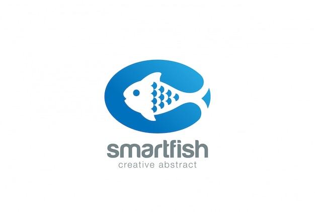 Fish abstract fish on dish  logo vector icon Free Vector