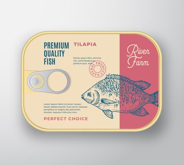 물고기 알루미늄 용기. 레트로 프리미엄 통조림 포장 디자인