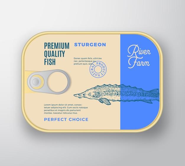 물고기 알루미늄 용기. 레트로 프리미엄 통조림 포장 모형