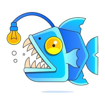 Рыба-рыболов обнажает свои острые клыки. мультяшная рыба, изолированных на фоне. векторная иллюстрация.