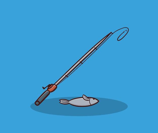 魚と釣り糸手描きイラスト