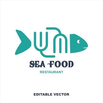 Рыба и вилка морепродуктов ресторан логотип или значок векторные иллюстрации