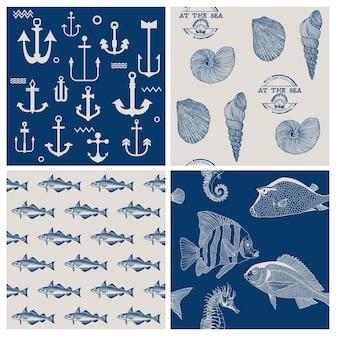 물고기와 해양 배경 세트