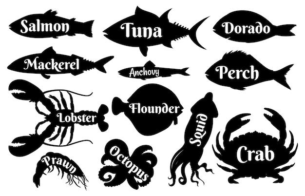 빈티지 로고 또는 레이블 아이콘을 위한 물고기와 해산물 실루엣. 바다 연어, 참치, 황새와 랍스터, 새우와 오징어. 바다 음식 벡터 집합입니다. 레스토랑을 위한 해양 또는 수생 야생 동물 거주자
