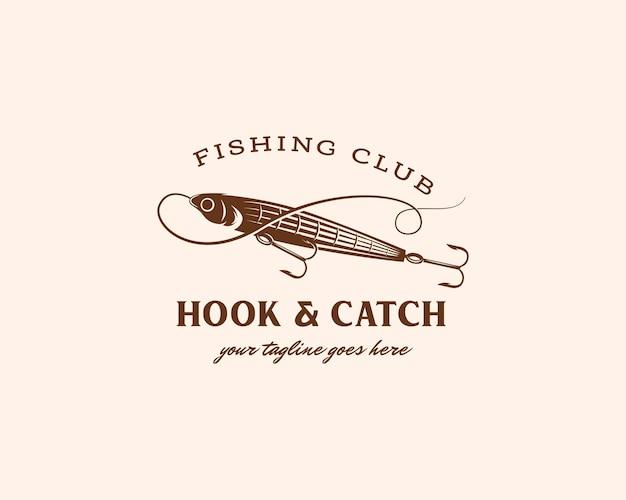 釣りロゴフックとキャッチ釣りロゴデザインテンプレートの魚の餌