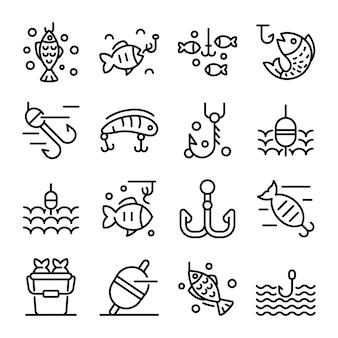 Fish bait icons set