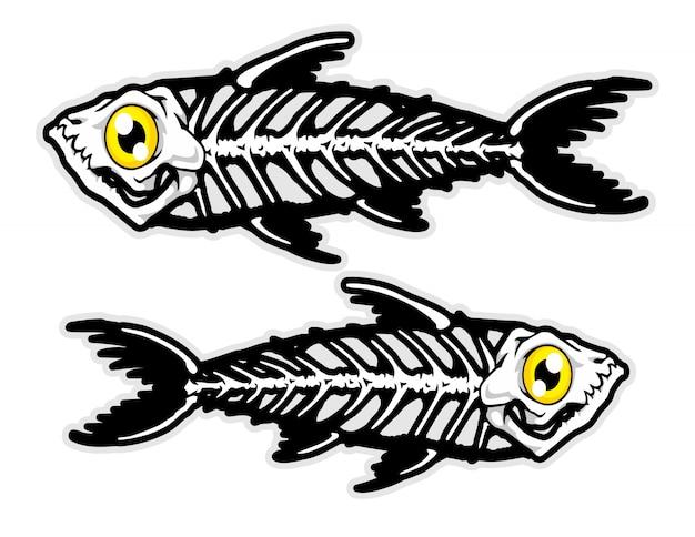 생선 뼈 만화 벡터