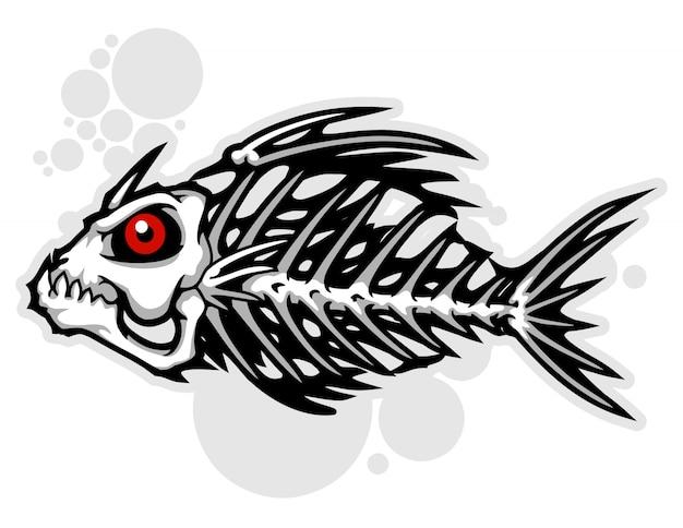 魚の骨の漫画ベクトル