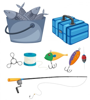Fish in bucket and fishing set illustration
