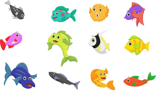 Fish cartoon collection set