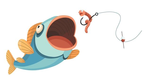 물고기 잡기. 낚시 미끼를 잡는 만화 물고기. 미끼를 잡기 위해 점프합니다. 스포츠 취미. 웜 벡터 일러스트 레이 션에 낚시 또는 사냥.