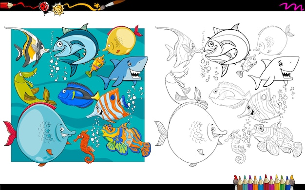 Fish characters group coloring book