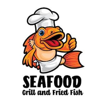Логотип талисмана шаржа шеф-повара рыбы