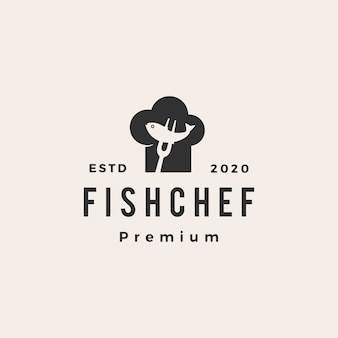 Fish chef hat restaurant hipster vintage logo icon illustration