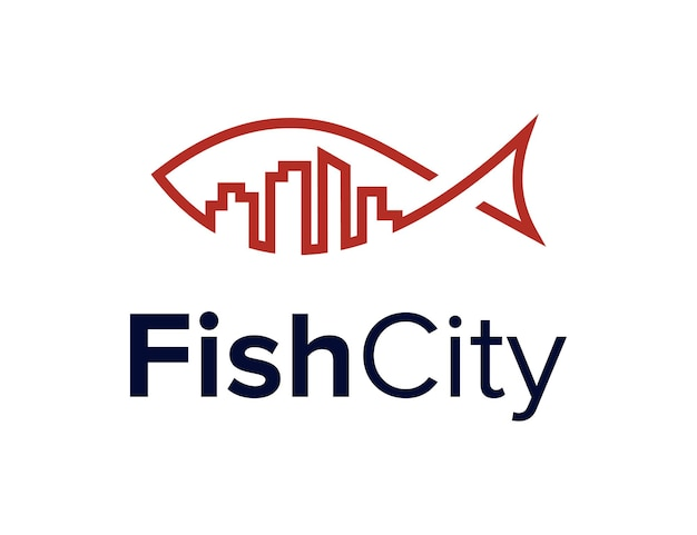 Fish and city building outline simple sleek creative geometric modern logo design