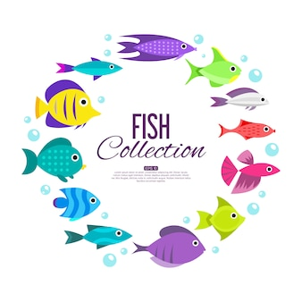 魚のコレクション。漫画スタイル。異なる魚のイラスト