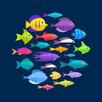 Fish collection. Cartoon style. Illustration of twelve different fish