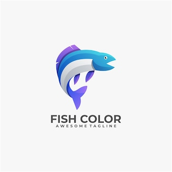 Fish colorful illustration logo design template