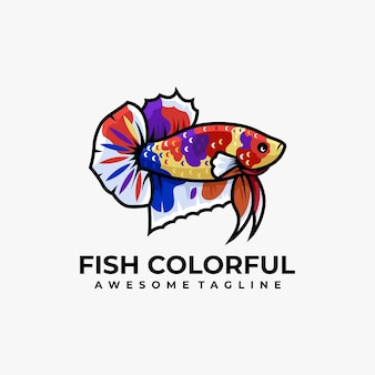 Fish colorful logo design
