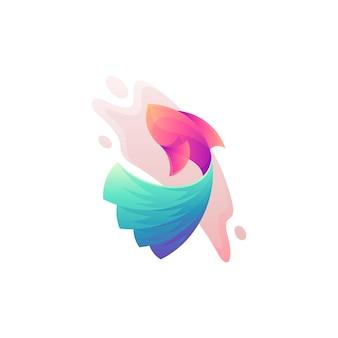 Fish colorful logo isolated on white