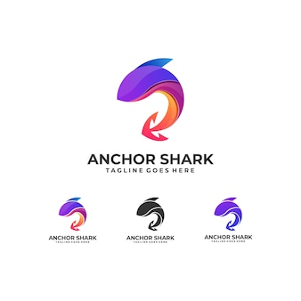 Fish colorful with anchor design logo