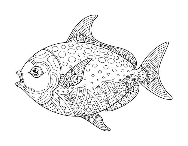 Рыба раскраски страницы дизайн чистый фон