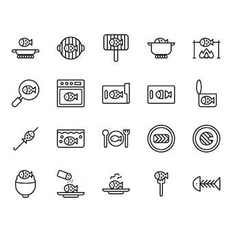 Fish cooking and food related icon set