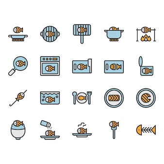 Fish cooking and food related icon and symbol set