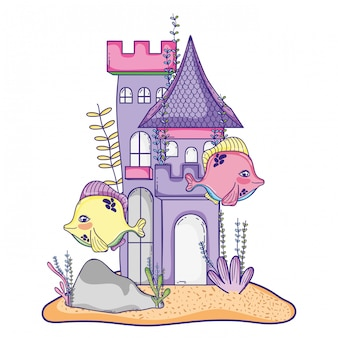 Fish couple with castle and seaweed plants