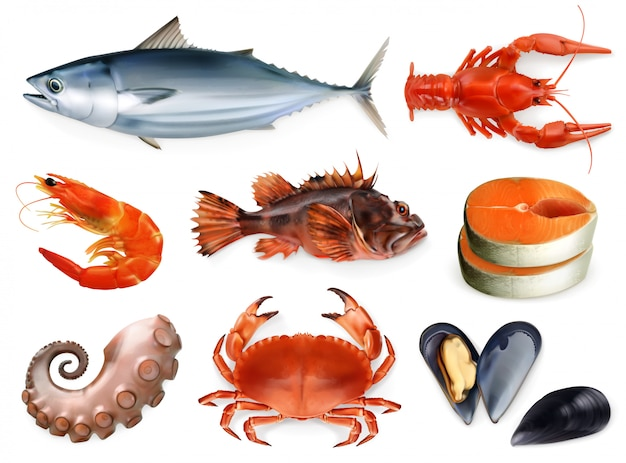 Fish, crayfish, mussels, octopus. 3d icon set. sea food, realism style