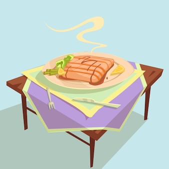 Fish dish cartoon illustration