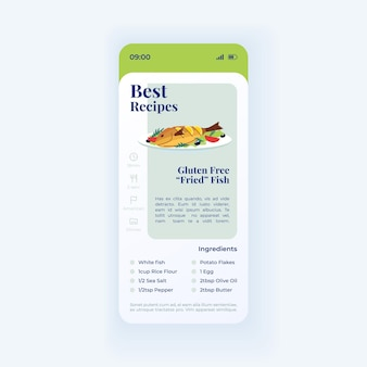 Fish dish smartphone interface vector template. mobile app page light design layout. best recipe. gluten free fried seafood screen. flat ui for application. meal preparation. phone display